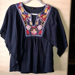 XXI Navy Embroidery Boho Blouse Top Size Small